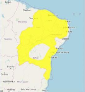 ALERTA CHUVAS 275x300 - Inmet emite alerta de chuvas intensas para Campina Grande e outras 210 cidades da Paraíba