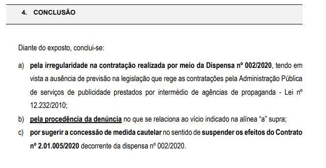 CONCLUSÃO - Auditoria do TCE aponta irregularidade em dispensa de licitação para agência de publicidade na Prefeitura de Campina; VEJA DOCUMENTO