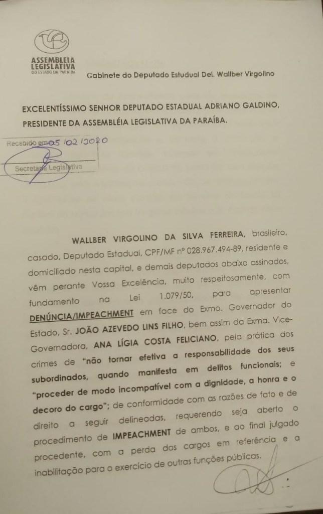 IMG 20200205 WA0267 644x1024 - VOLTA AOS TRABALHOS NA ALPB: Oposição pede impeachment de João Azevedo e de Lígia Feliciano - VEJA VÍDEO