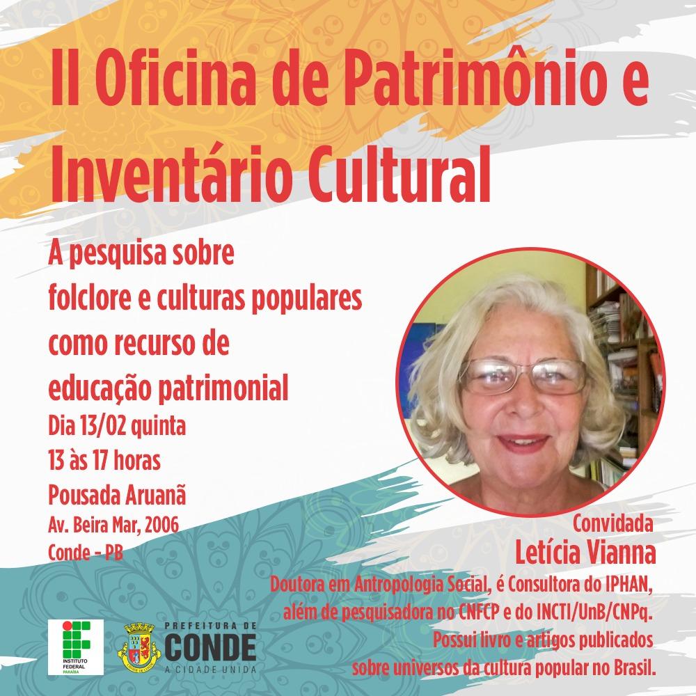 Oficina Inventário Cultural - Conde promove II Oficina de Patrimônio e Inventário Cultural