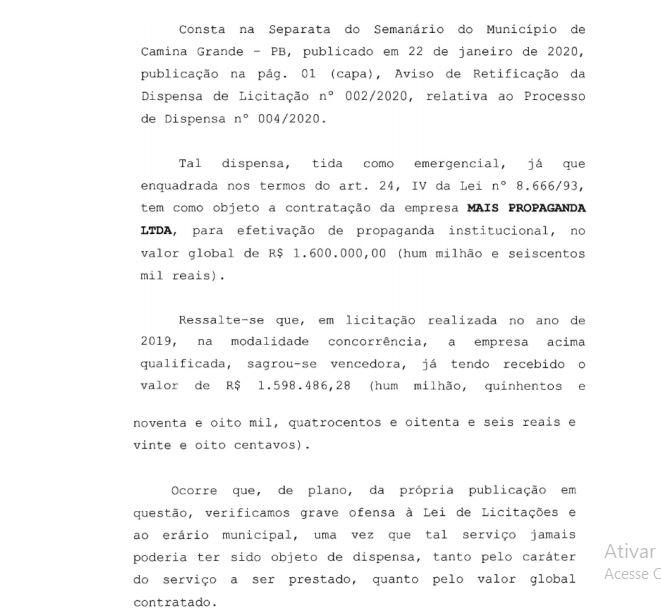 TCE CAMPINA - Auditoria do TCE aponta irregularidade em dispensa de licitação para agência de publicidade na Prefeitura de Campina; VEJA DOCUMENTO