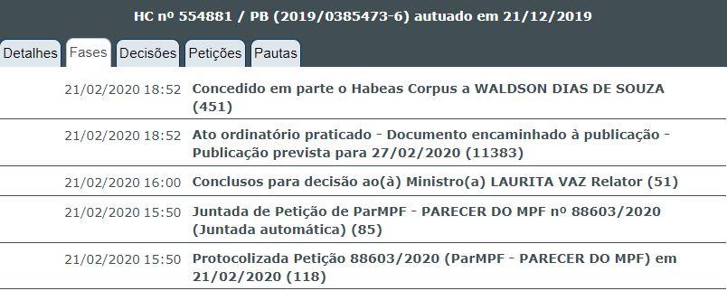 concede em parte - Laurita Vaz concede 'em parte' habeas corpus a ex-secretário Waldson de Souza