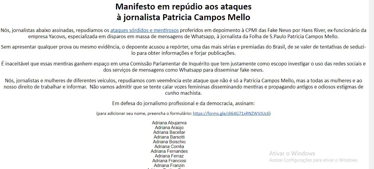 maninfesto - Jornalistas mulheres publicam manifesto em apoio à repórter da Folha