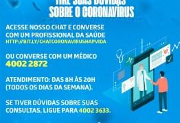 Hapvida amplia serviços de chat e telefônico para dúvidas sobre coronavírus
