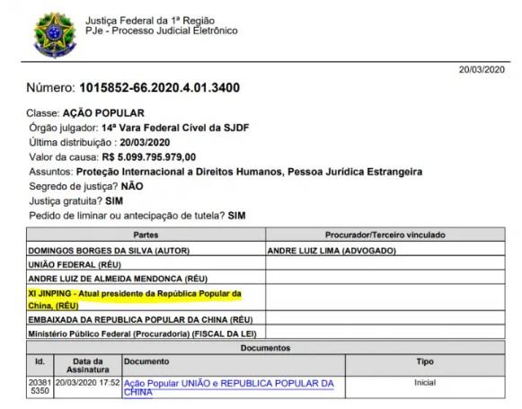 Capturar57 - R$ 5 BI AO BRASIL: Brasileiro processa presidente da China por indenização em razão do coronavírus