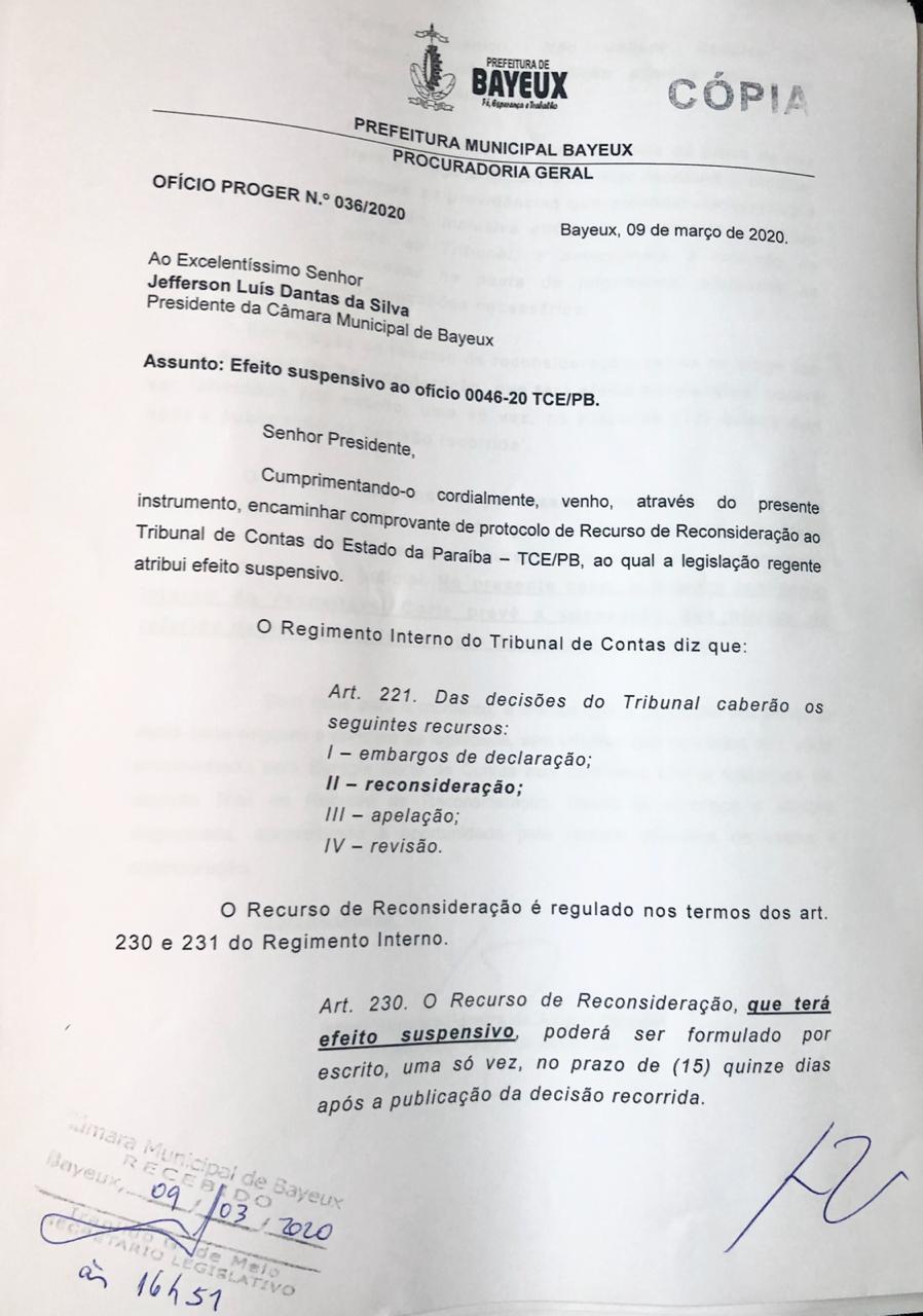 WhatsApp Image 2020 03 09 at 18.23.05 - Defesa de Berg Lima protocola recurso contra intervenção e pede suspensão de votação na Câmara de Bayeux