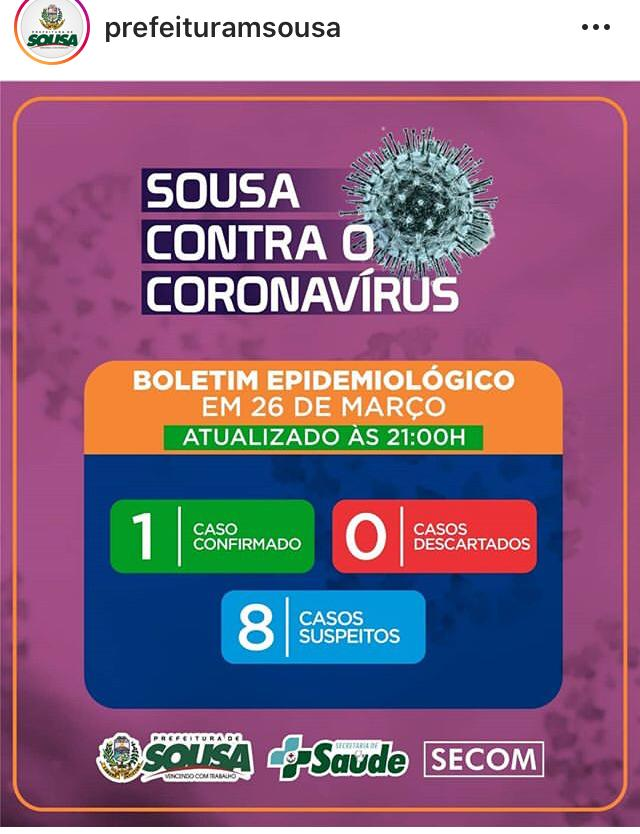WhatsApp Image 2020 03 26 at 22.48.52 1 - Prefeitura de Sousa confirma primeiro caso de coronavírus na cidade