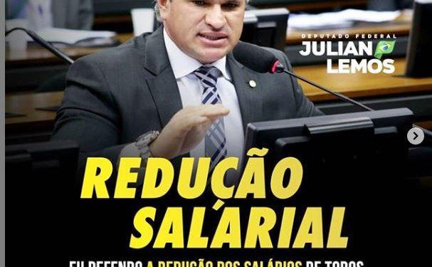 julian lemos 2 607x375 1 - Por conta do Covid-19, Julian sai em defesa da redução de salários de todos os agentes públicos