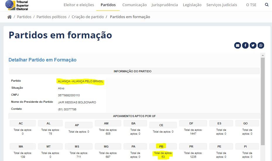print - Cabo Gilberto contesta TSE e diz que número de 53 assinaturas pelo Aliança na Paraíba é 'fake news' - VEJA VÍDEO