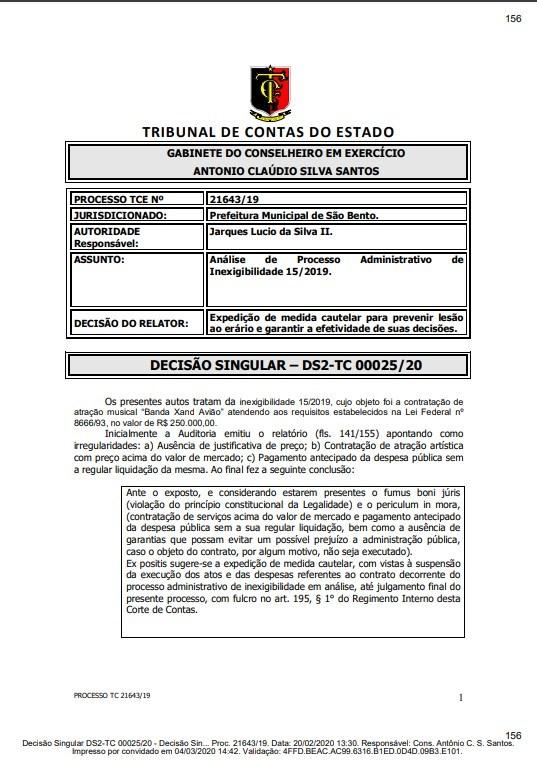 sao bento tce 1 - CANCELADO: TCE suspende contrato da Prefeitura de São Bento para show de Xand Avião em setembro