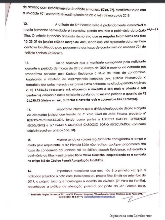 4 - Crime de apropriação indébita: Ricardo Coutinho deu entrada em Notícia Crime contra Pamêla Bório - VEJA DOCUMENTO