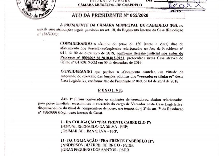 Vereadores afastados Cabedelo reintegrados - OPERAÇÃO XEQUE-MATE: Câmara de Cabedelo devolve mandato a vereadores afastados na 6ª fase