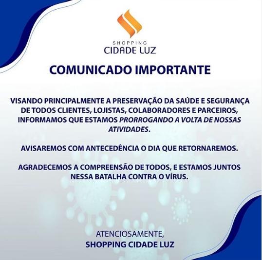 arte - Após prefeito de Guarabira anunciar reabertura do comércio, Shopping Cidade Luz não acata decisão e vai continuar fechado