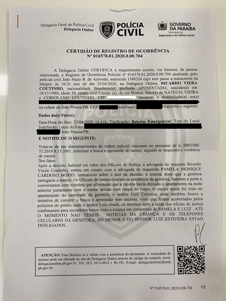 boricardo - Ricardo Coutinho registra ocorrência contra Pâmela Bório para conseguir retomar guarda do filho - VEJA