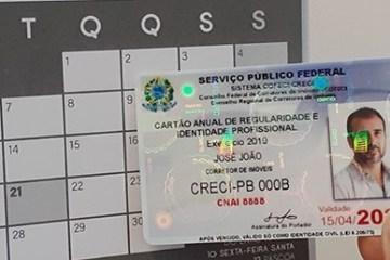 carteira creci pb - Inscritos no Creci-PB receberão carteiras e certificados em dois dias úteis