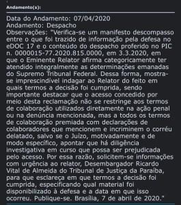 despacho 265x300 - OPERAÇÃO CALVÁRIO: Defesa de Ricardo Coutinho alega desencontro de informações e Gilmar Mendes pede esclarecimentos ao TJPB