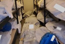 Covid-19: Imagens chocantes mostram cadáveres empilhados em hospital