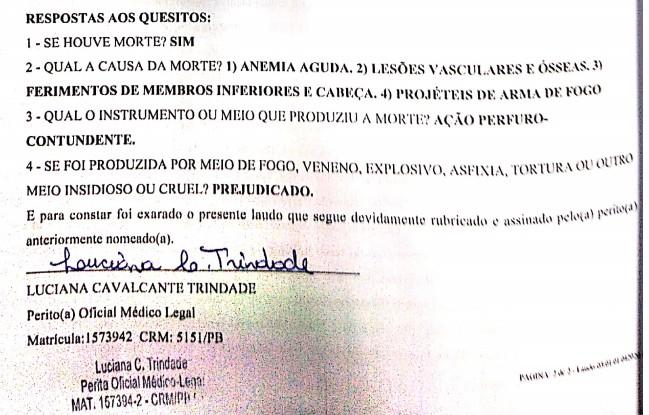 laudo 2 - Laudo aponta que empresário Helton Pessoa foi morto com 'requintes de crueldade', diz defesa; LEIA DOCUMENTO