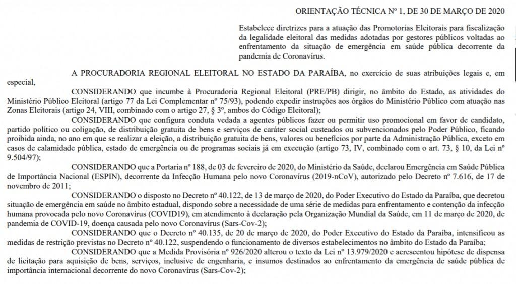 mpf1 1024x563 1 - PRE faz alerta para uso 'eleitoreiro' de medidas de combate ao coronavírus na PB