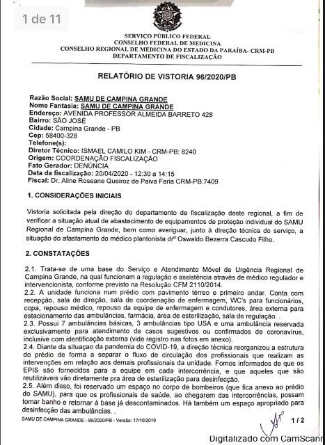 unnamed 4 2 - CRM da Paraíba atesta medidas de segurança no SAMU de Campina Grande