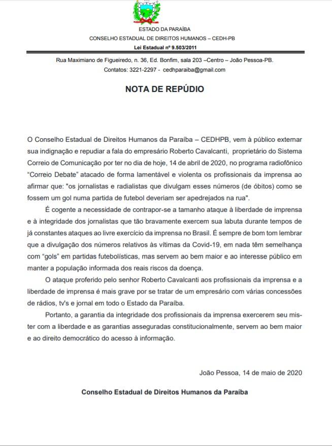 1 2 - 'Ataque à liberdade de imprensa': CEDHPB repudia fala do empresário Roberto Cavalcanti