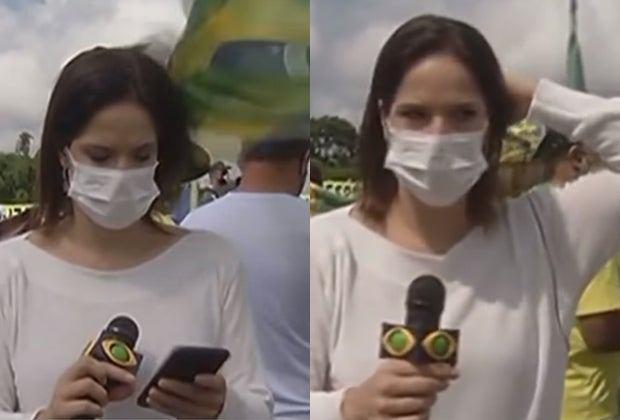 20200517 reporter da band ataque - Repórter agredida com bandeirada durante manifestação em Brasília - VEJA VÍDEO