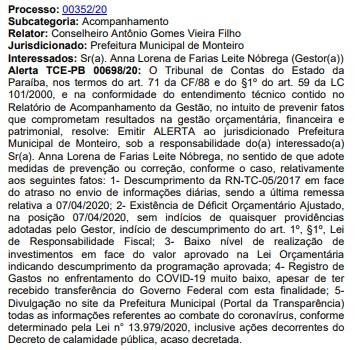 Prefeitura de Monteiro - TCE notifica prefeita de Monteiro por déficit orçamentário e baixo investimento no combate ao coronavírus