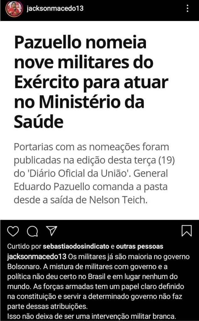 WhatsApp Image 2020 05 20 at 09.04.05 634x1024 1 - Presidente do PT da Paraíba alerta para 'intervenção militar branca' com excesso de nomeações de militares