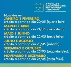image005 300x282 - Crédito da segunda parcela do auxílio emergencial em poupanças digitais começa nesta quarta-feira 20 - CONFIRA CALENDÁRIO