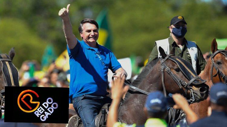 rei do gado - Bolsonaro desfila a cavalo em Brasília e internautas não perdoam: Rei do Gado