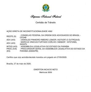 """transito em julgado 296x300 - Supremo comunica """"trânsito em julgado"""" de ação e derruba pensões de ex-governadores"""