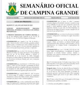 whatsapp image 2020 05 27 at 10.15.45 296x300 - Decreto que antecipa feriados é publicado e paralisa atividades por 5 dias, em Campina Grande