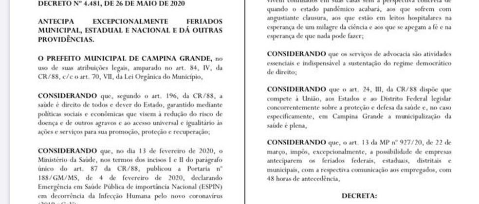 Decreto que antecipa feriados é publicado e paralisa atividades por 5 dias, em Campina Grande