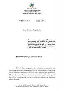 71850 texto integral 1 page 0001 212x300 - ALPB aprova PL de Felipe Leitão que prevê parcelamento de débitos de água, esgoto e energia durante pandemia