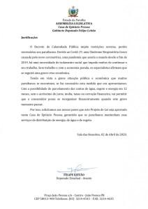 71850 texto integral 1 page 0003 212x300 - ALPB aprova PL de Felipe Leitão que prevê parcelamento de débitos de água, esgoto e energia durante pandemia
