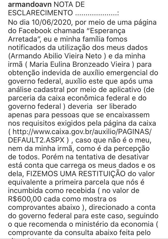 WhatsApp Image 2020 06 15 at 22.17.50 - Neto de Armando Abilio diz que teve nome usado para solicitar auxílio emergencial e destaca que a quantia já foi devolvida