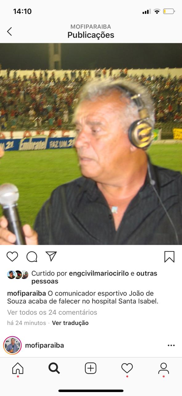WhatsApp Image 2020 06 28 at 14.11.28 - LUTO NO ESPORTE: morre o comunicador esportivo João de Souza