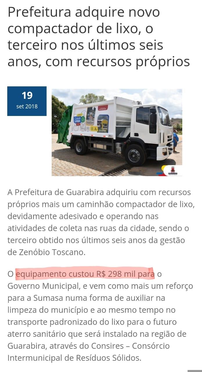 caminhao de lixo lucena - Após 7 anos coletando lixo em veículo aberto, prefeito de Lucena aluga caminhão sem licitação e no valor de R$ 24 mil