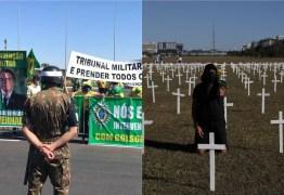 Apoiadores de Bolsonaro fazem ato pró-intervenção, e opositores usam cruzes para criticar governo