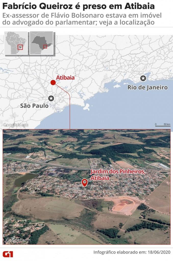 mapa queiroz rj - Fabrício Queiroz, ex-assessor de Flávio Bolsonaro, é preso em Atibaia, SP - VEJA VÍDEO