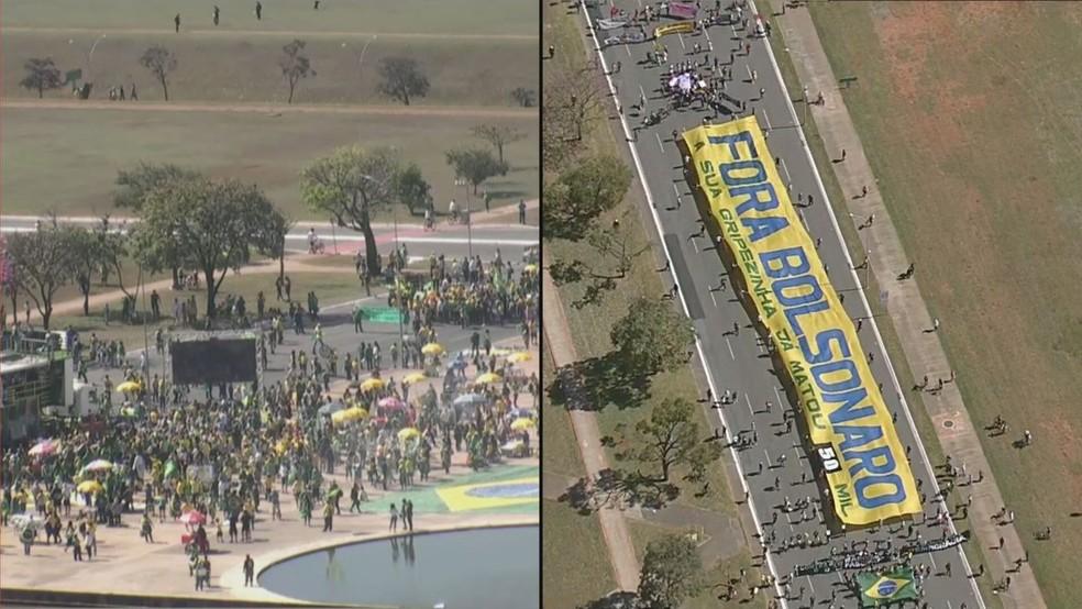 thumbnail protesto 05 - Grupos contra e a favor de Bolsonaro fazem atos em Brasília; Veja imagens