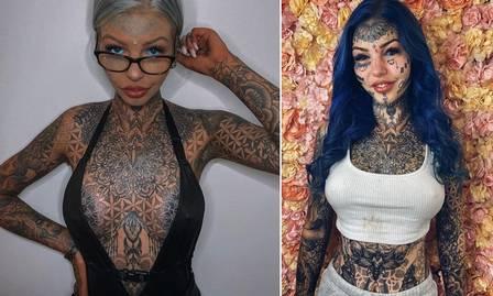xblog amber 6.jpg.pagespeed.ic .58 U7VlhQX - Modelo com quase 100% da pele tatuados posta foto antiga: 'Me odiava'