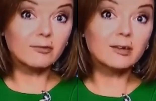 013 - Apresentadora perde o dente ao vivo durante telejornal; VEJA VÍDEO