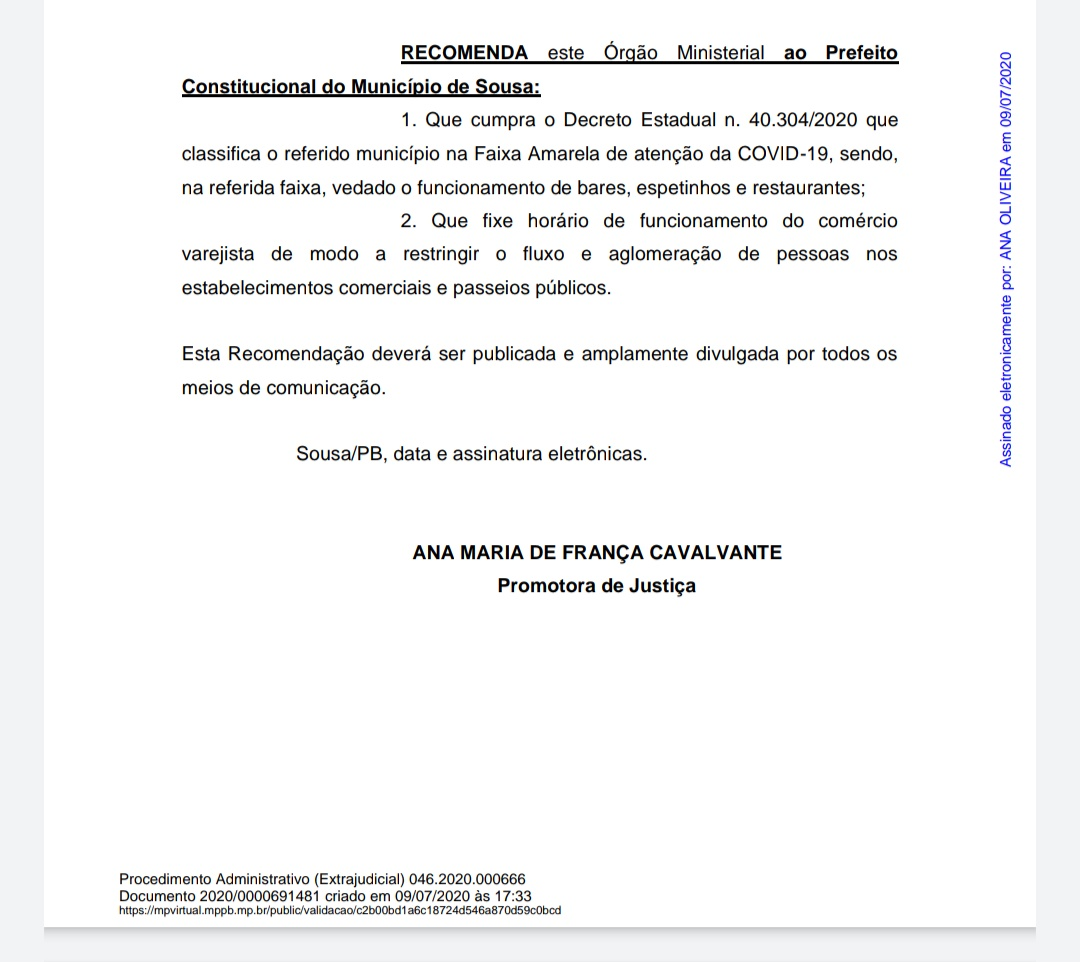 IQvUsrN - Justiça recomenda que Fábio Tyrone feche bares, espetinhos e restaurantes em Sousa – LEIA O DOCUMENTO