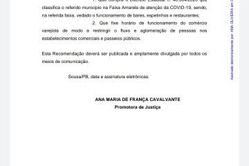 Justiça recomenda que Fábio Tyrone feche bares, espetinhos e restaurantes em Sousa – LEIA O DOCUMENTO