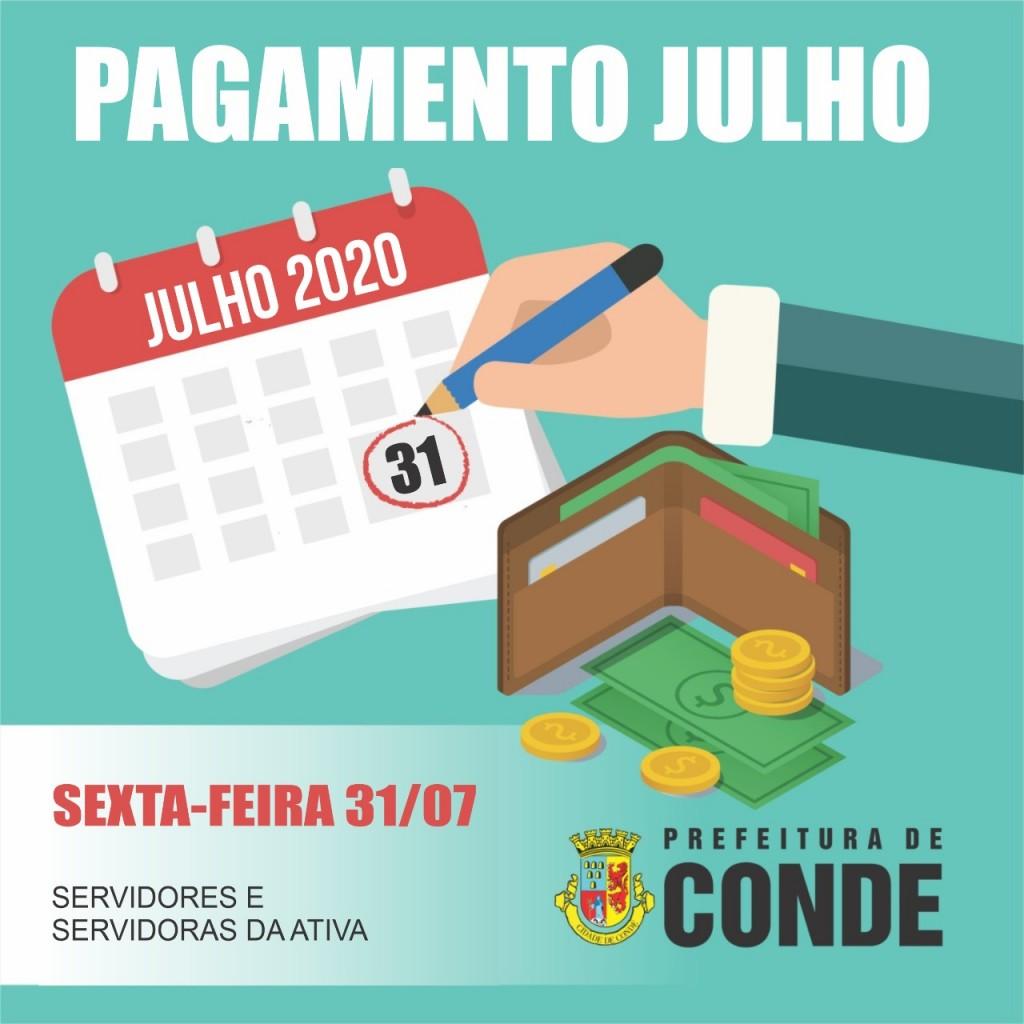 Pagamento de Julho - Prefeitura de Conde paga salários de julho nesta sexta-feira