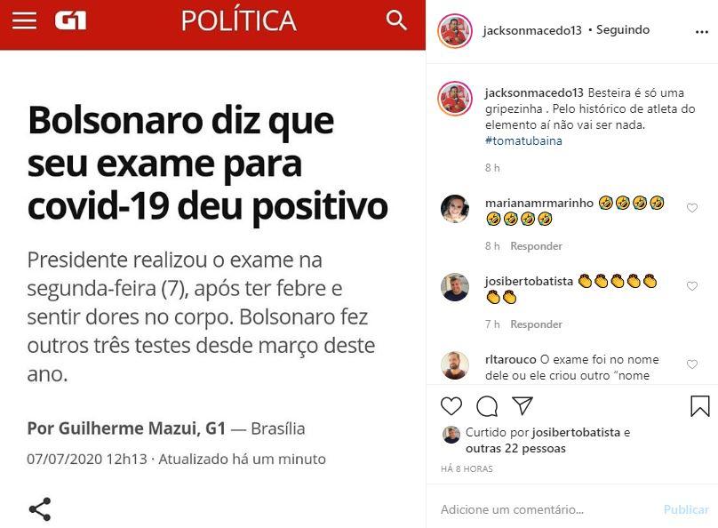 """bolsonaros - """"Pelo histórico de atleta do elemento aí não vai ser nada"""", ironiza presidente do PT/PB após Bolsonaro testar positivo para Covid-19"""