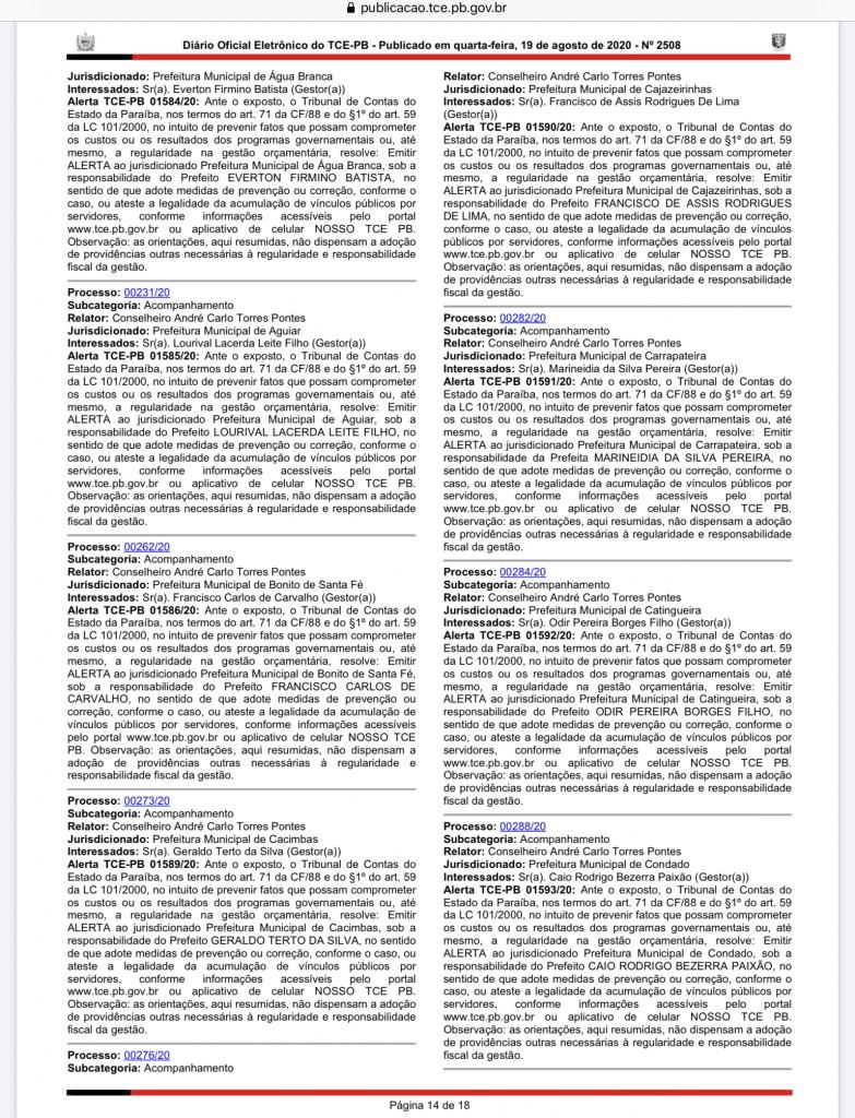IMG 0382 - TCE-PB emite alerta a oito prefeituras por acúmulo de cargos públicos  – VEJA QUAIS SÃO