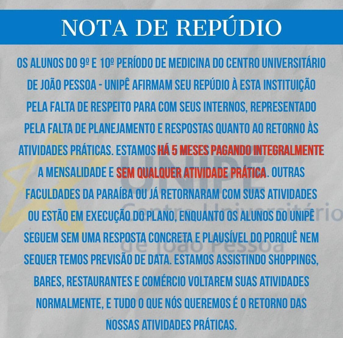 WhatsApp Image 2020 08 10 at 21.04.44 - NOTA: alunos de medicina da Unipê reclamam que estão pagando mensalidade integralmente e cobram retorno das aulas