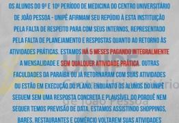 NOTA: alunos de medicina da Unipê reclamam que estão pagando mensalidade integralmente e cobram retorno das aulas